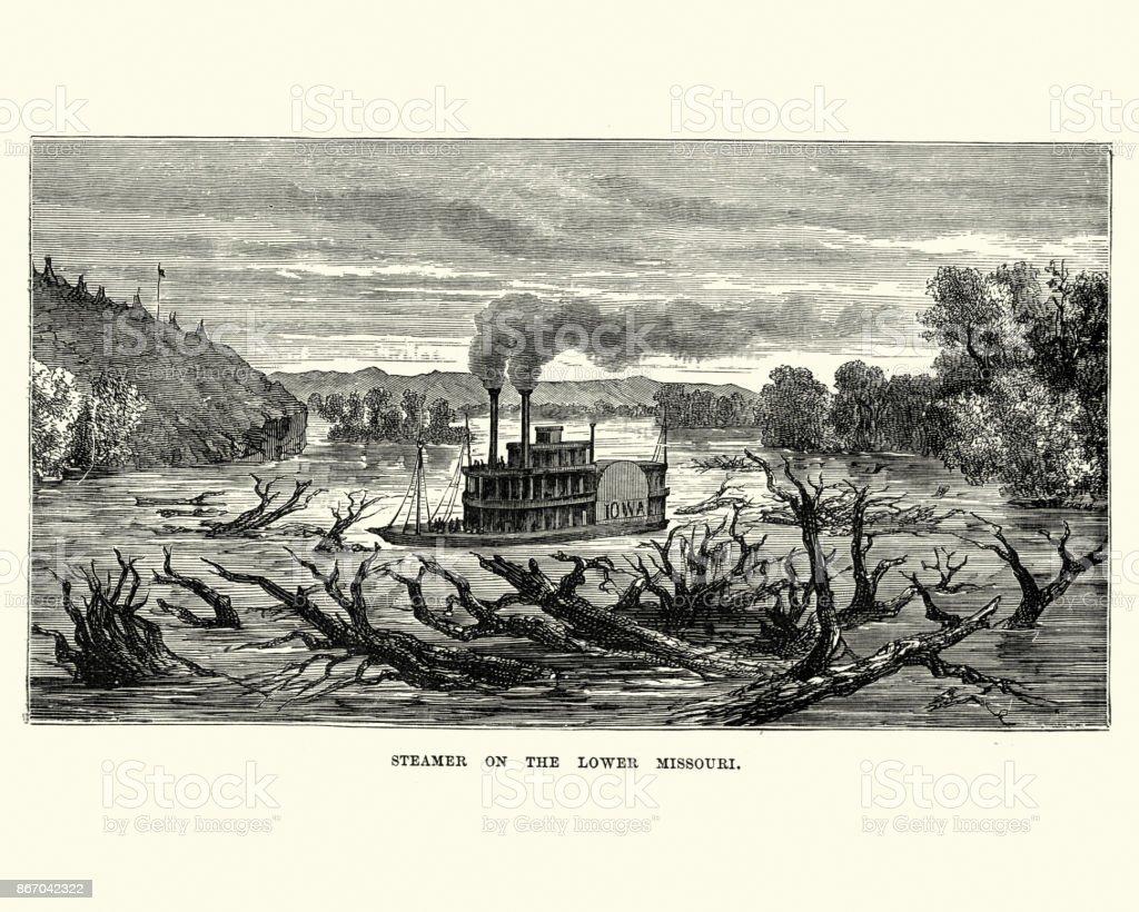 Paddle steamer on Lower Missouri, 19th Century vector art illustration