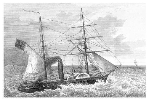 Paddle wheel steam frigate Cyclops 1839