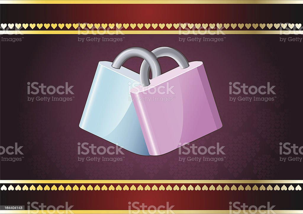 Padlocks holding together vector art illustration