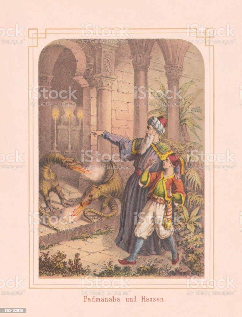 Padmanabha ve Hassan, Arabian Nights, masal, 1867 litografi - Royalty-free Adamlar Stock Illustration