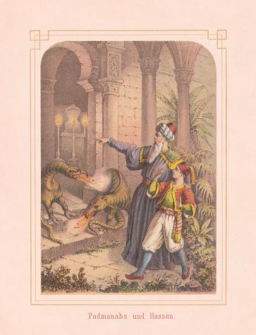 Padmanabha Ve Hassan Arabian Nights Masal 1867 Litografi Stok Vektör Sanatı & Adamlar'nin Daha Fazla Görseli