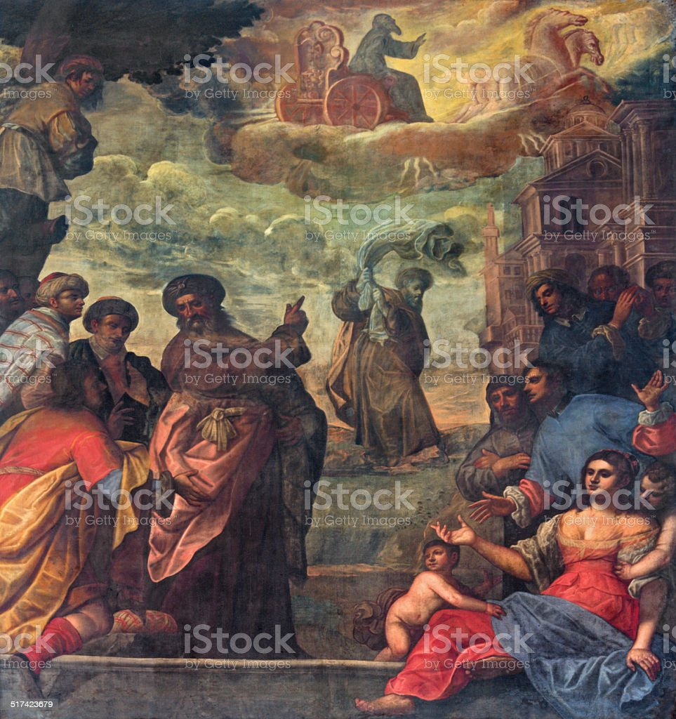Padua - Elijah ascend to heaven in chariot of fire vector art illustration