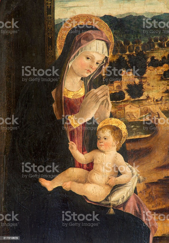 Padua - Madonna with child  in church of st. Nicholas. vector art illustration