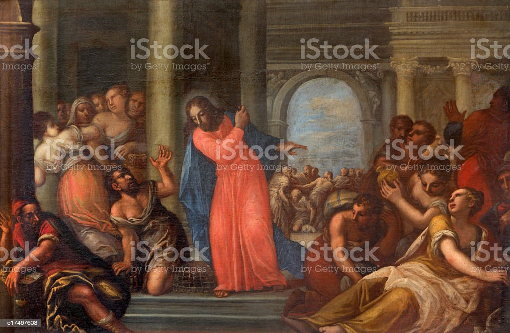 Padua - Paint of Jesus Cleanses the Temple scene vector art illustration