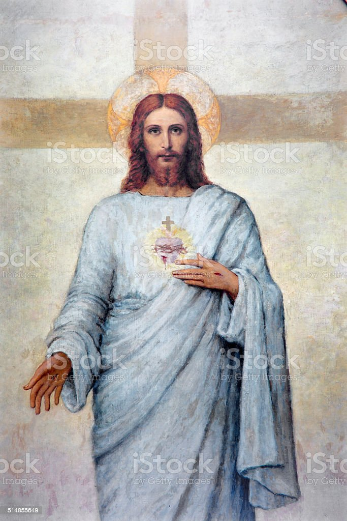 Padua - The heart of Jesus Christ paint vector art illustration