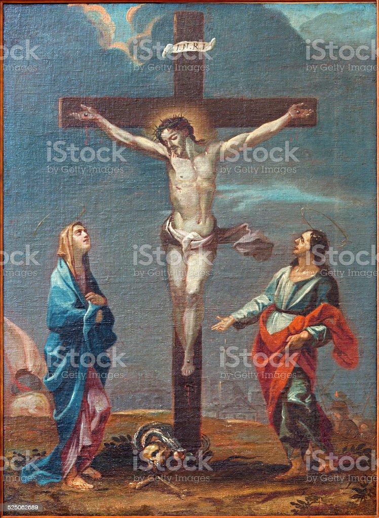 Padua - The paint of Crucifixion scene in Duomo. vector art illustration