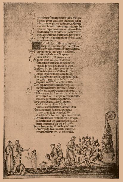 illustrazioni stock, clip art, cartoni animati e icone di tendenza di page from an illustrated dante manuscript of the 14th century - dante alighieri
