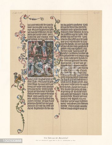 A page from the Wenceslas Bible - a splendid manuscript created between 1390 and 1400 in Prague. The German-language Bible was written and painted for King Wenceslaus IV of Bohemia. It contains a the oldest translations of the Old Testaments in English. The text is from Exodus 4, verse 4 - 15. Faximile (chromolithograph) after an original medieval parchment in the Austrian National Library, Vienna, published in 1897.