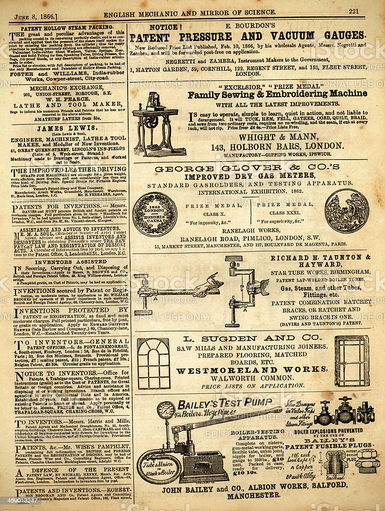 Page of advertisements from 'English Mechanic', 1866 royalty-free stock vector art