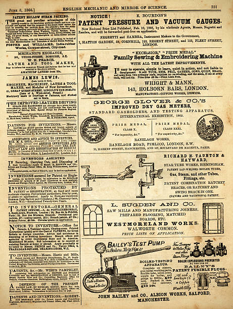 """Page of advertisements from 'English Mechanic', 1866 """"London, England - February 29, 2012: A scanned image of a page of advertising from 'English Mechanic', 4th May 1866 - advertisements of a mechanic or financial nature from a Victorian newspaper devoted to invention and science."""" brand name stock illustrations"""
