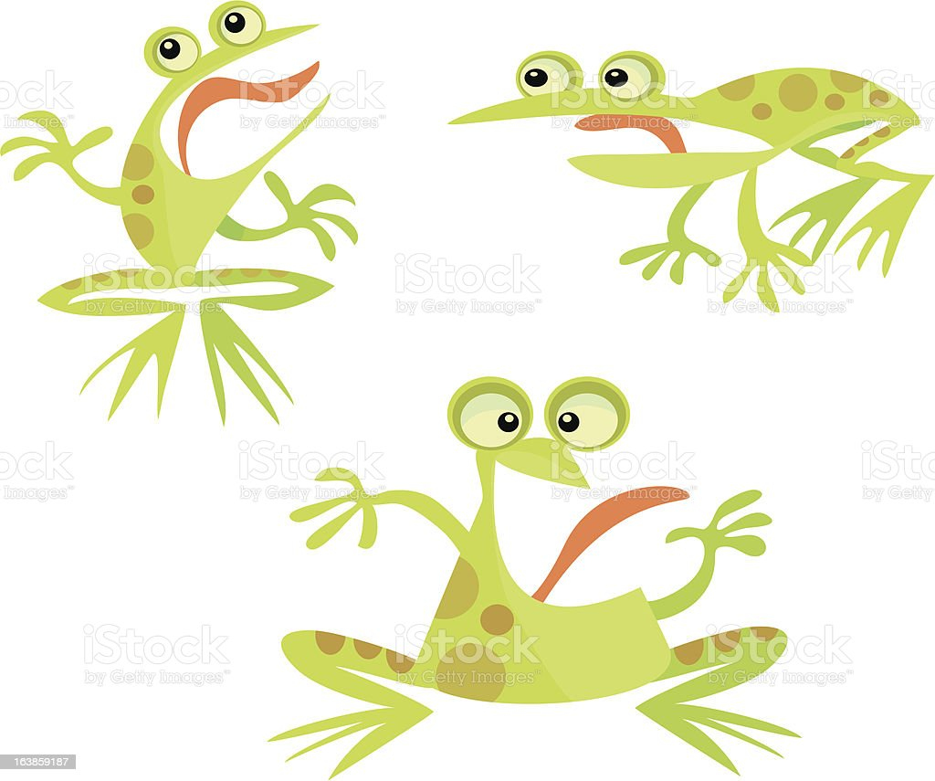 Page of Frogs With Tongues Sticking Out royalty-free stock vector art