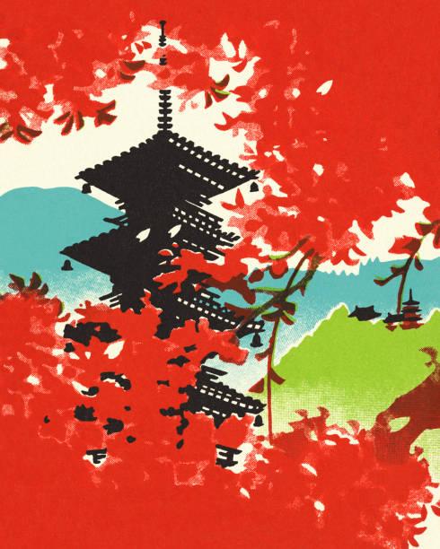 ilustrações de stock, clip art, desenhos animados e ícones de pagoda showing through cherry blossoms - cherry blossoms