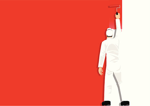 Paint It Red Illustration of a man painting the wall house painter stock illustrations