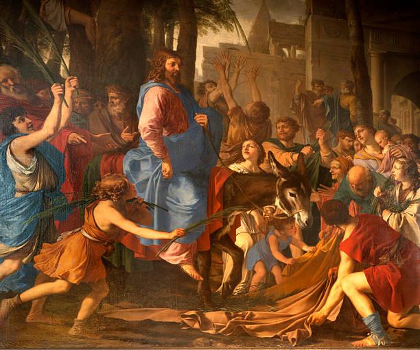 paint of scene - jesus entry into jerusalem - palm sunday stock illustrations, clip art, cartoons, & icons