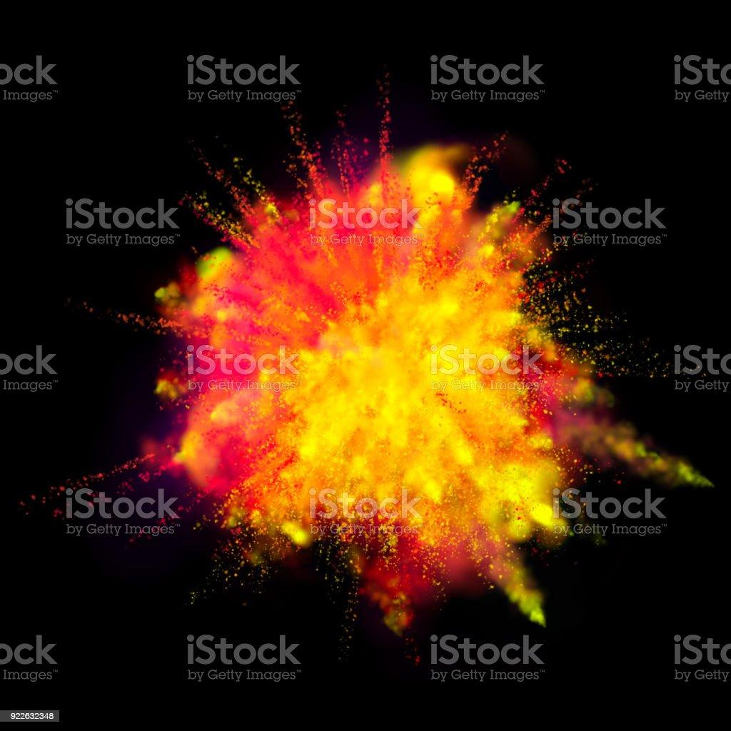 Explosion De Poudre Peinture Sur Fond Noir Orange Vif Jaune Couleur