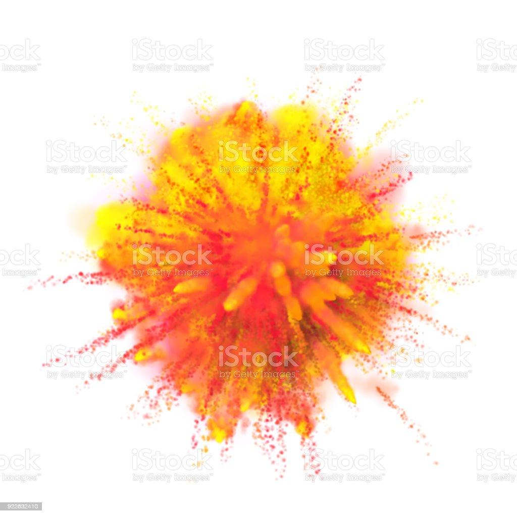 Explosion De Poudre Peinture Sur Fond Blanc Orange Vif Jaune Couleur