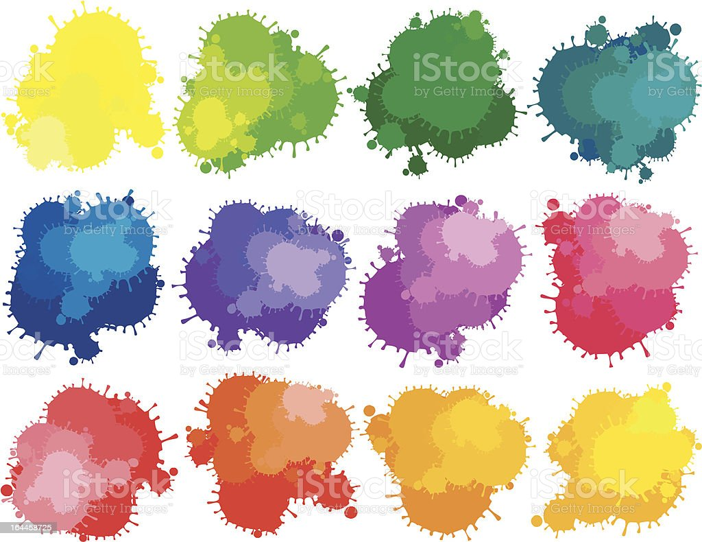 Paint splats vector art illustration
