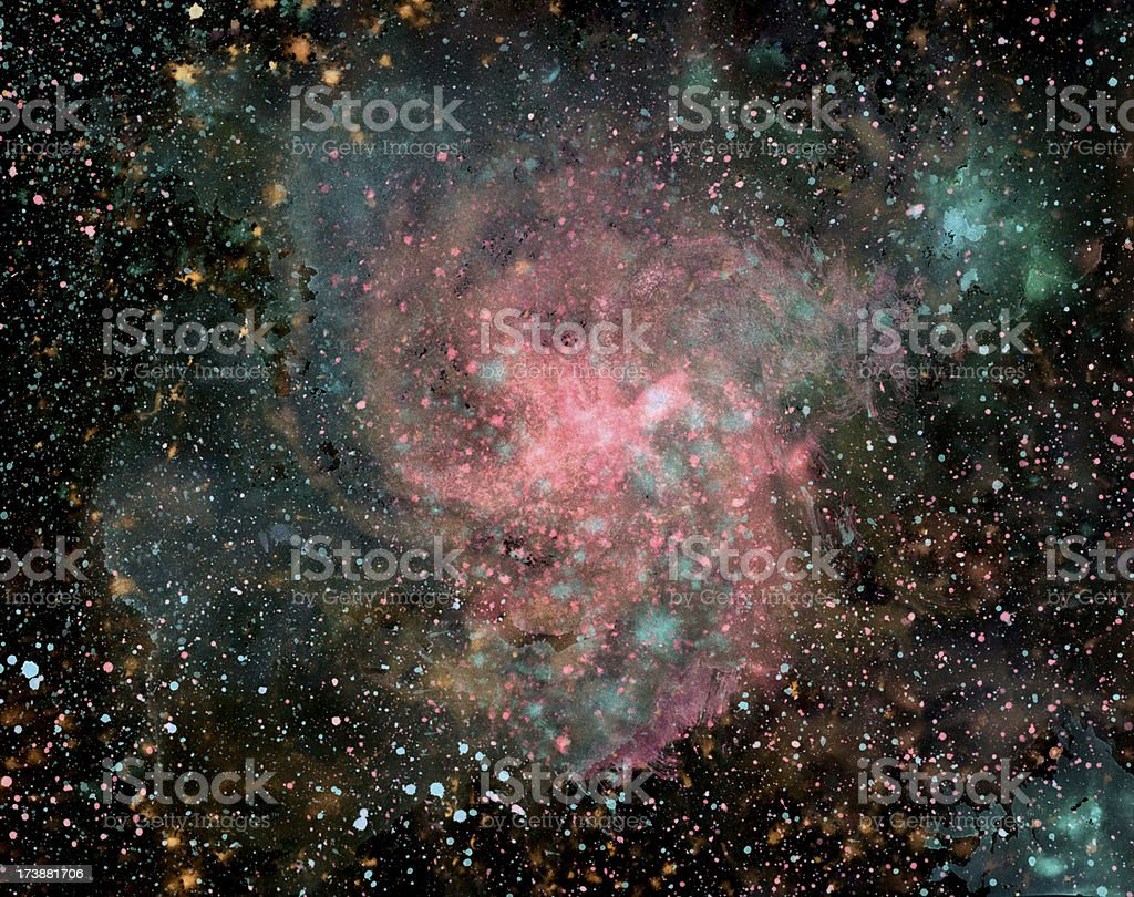 Paint splatter image of nebula in galaxy royalty-free stock vector art