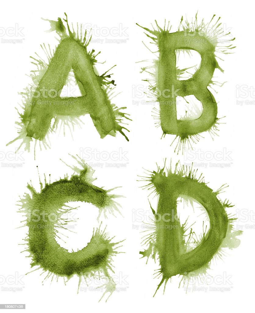 Paint Splattered Letter ABCD royalty-free paint splattered letter abcd stock vector art & more images of abstract