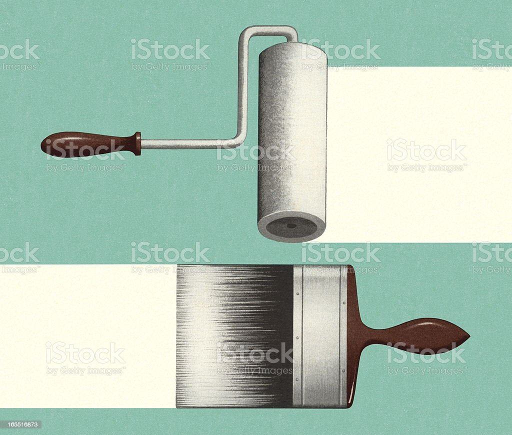 Paintbrush and Roller royalty-free paintbrush and roller stock vector art & more images of brush stroke