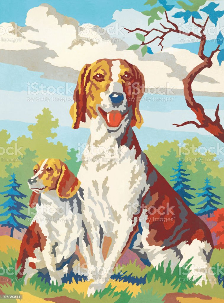 Paint-by-numbers dogs vector art illustration