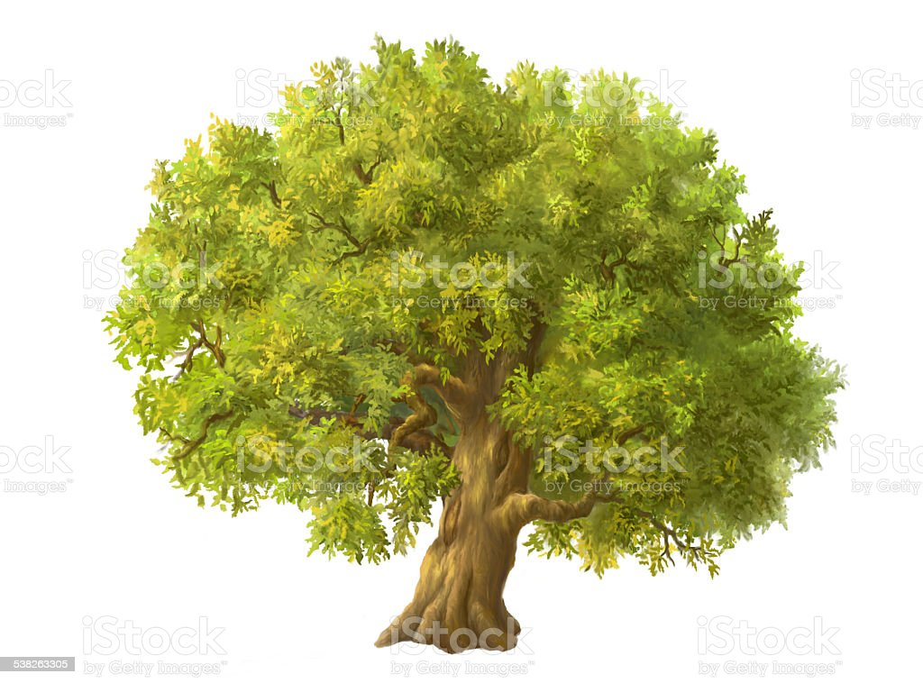 painted a large green tree vector art illustration