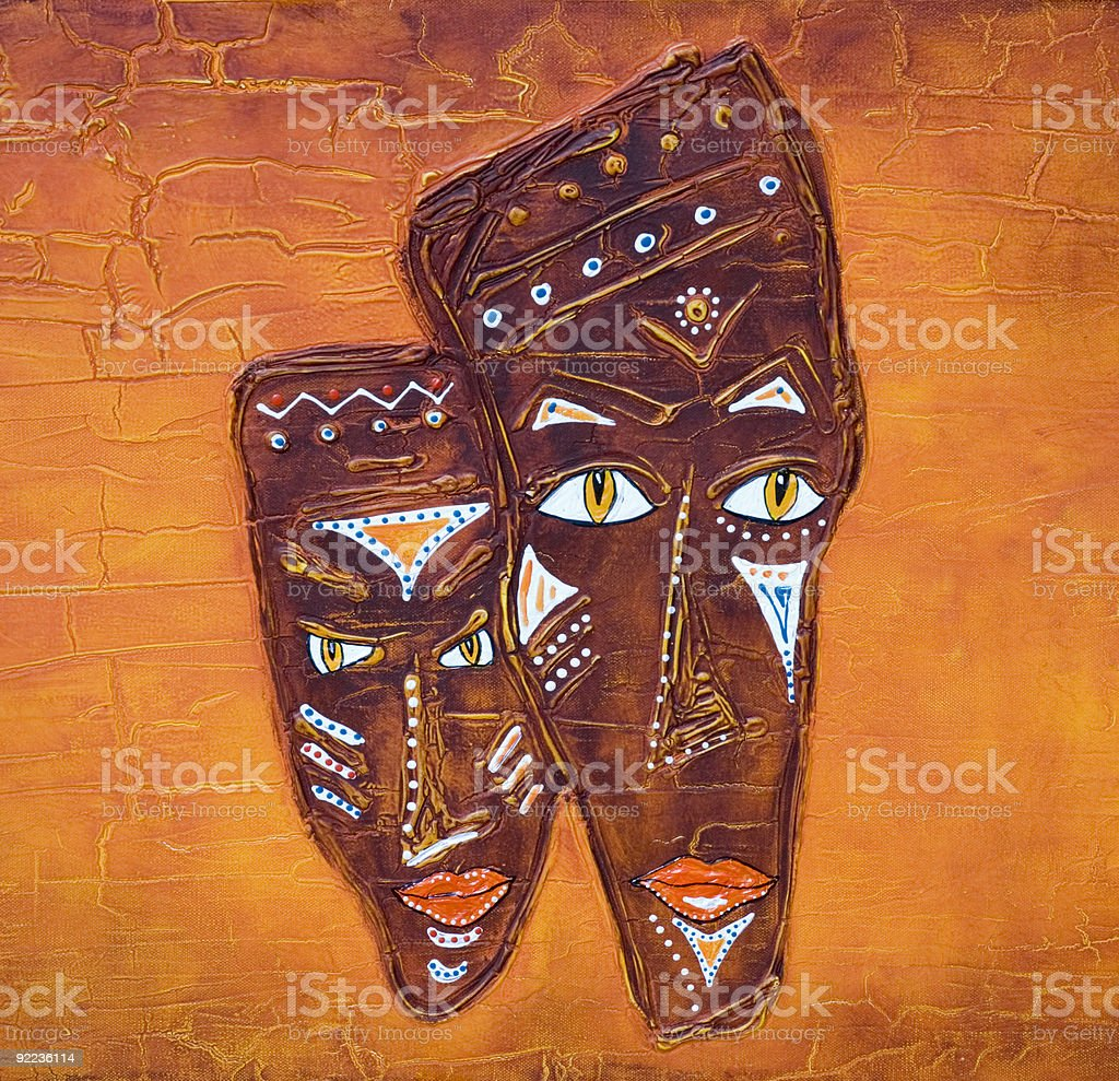 Painted african mask vector art illustration