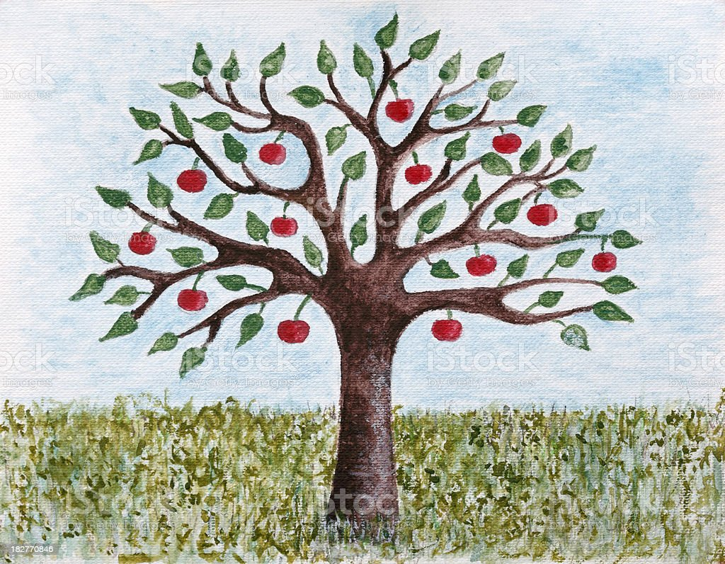 Painted Apple Tree Stock Illustration Download Image Now Istock