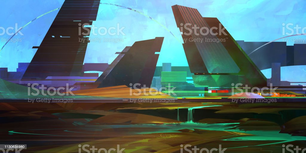 art color fantastic city of the future in the style of cyberpunk