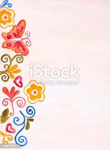 istock Painted Floral Border 486140124