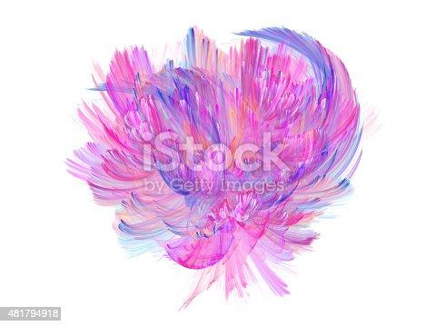 abstract flower isolated on white background, fractal illustration, design element
