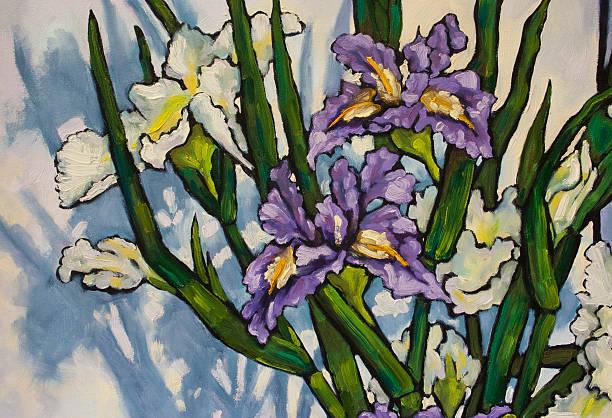Painted Irises in Oil Paint vector art illustration
