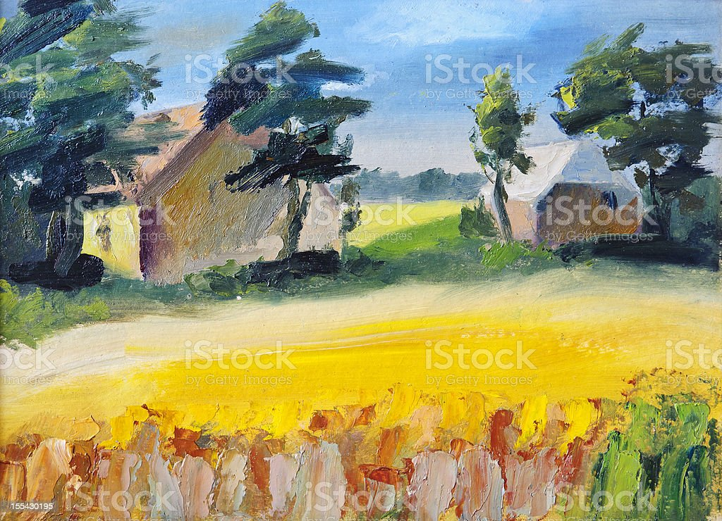Painted landscape vector art illustration