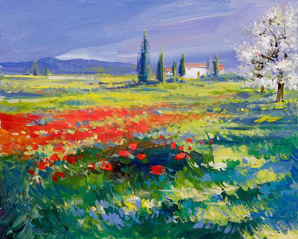painted poppies auf Sommer-Wiese – Vektorgrafik