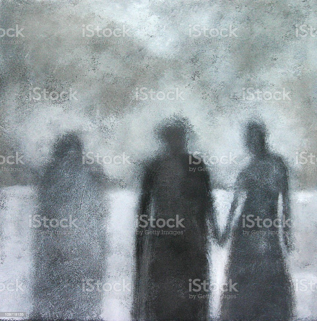 Painted Portrait of Three Shadows, Black and White vector art illustration