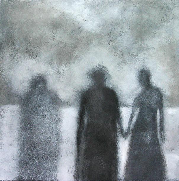 stockillustraties, clipart, cartoons en iconen met painted portrait of three shadows, black and white - solitair