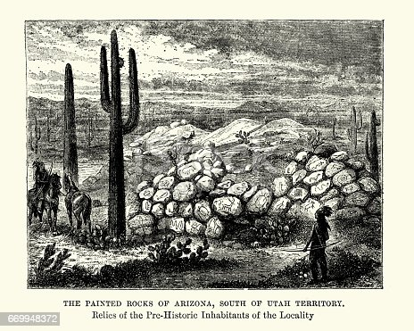 Vintage engraving of the Painted Rock Petroglyph Site, Arizona, 19th Century. A collection of hundreds of ancient petroglyphs near the town of Theba, Arizona