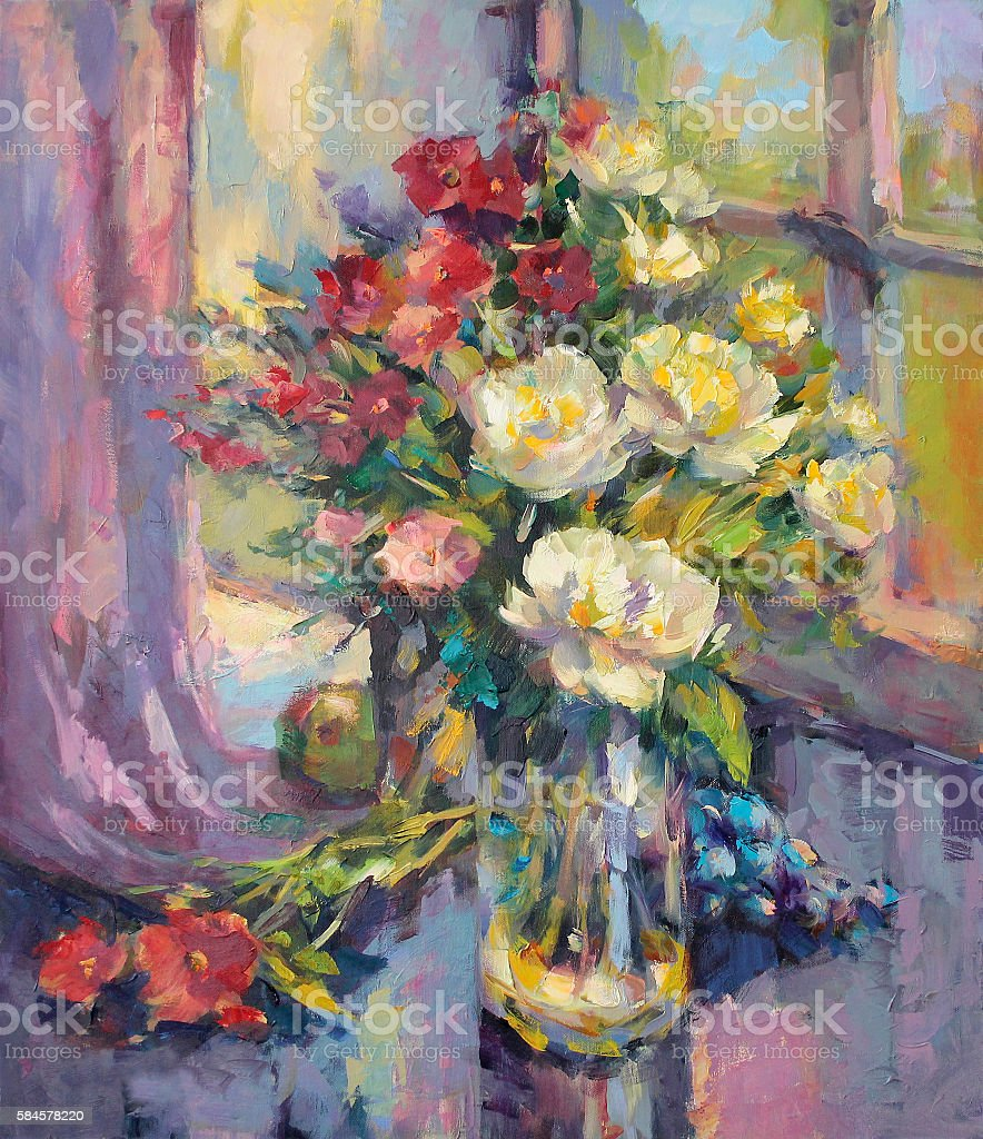 painted still life with peonies and grapes vector art illustration