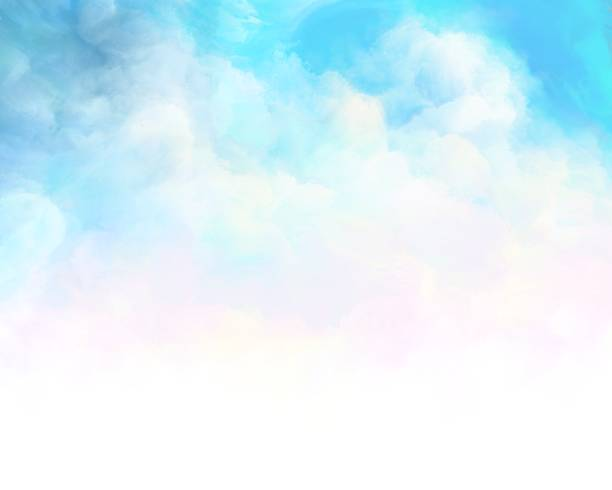 painted summer cloudy sky Watercolor background blue sky stock illustrations