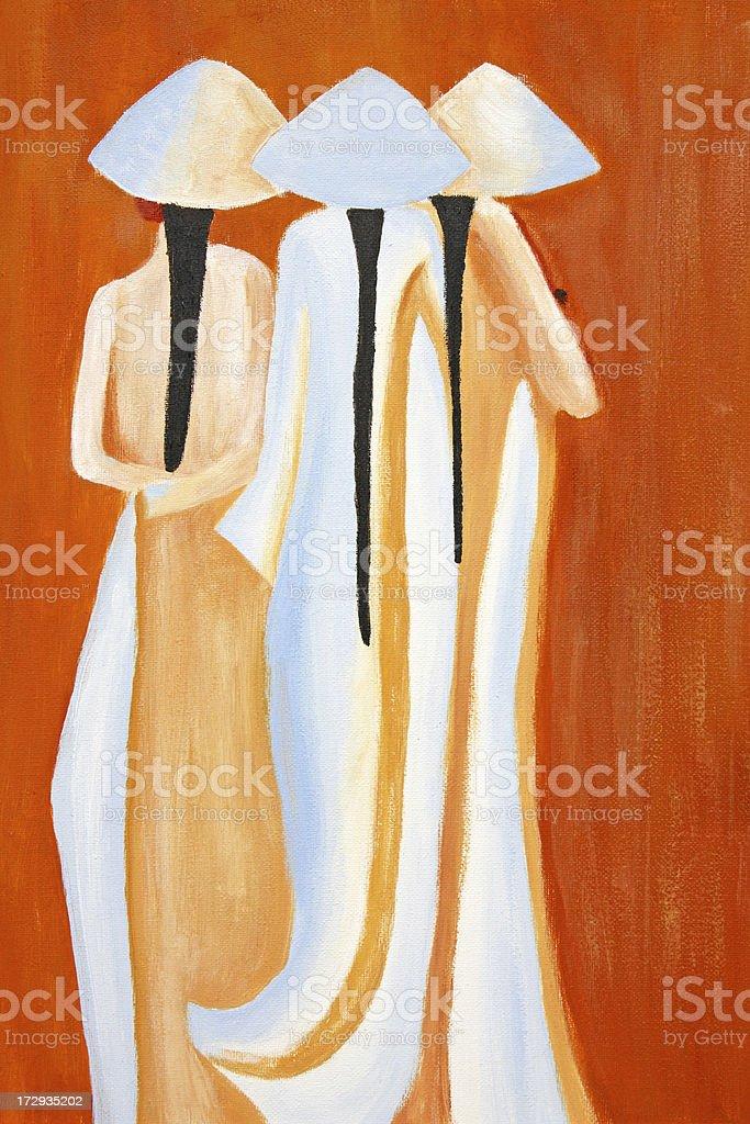 Painted Vietnamese school girls XL vector art illustration