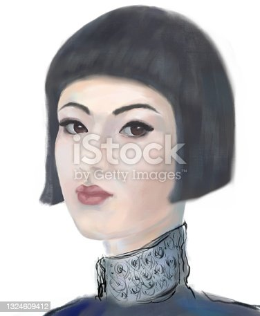 istock Painterly portrait of an asian girl in impressionism style 1324609412