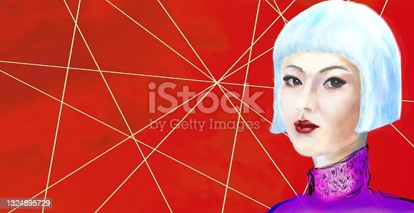 istock Painterly portrait of an asian girl in impressionism style 1324895729
