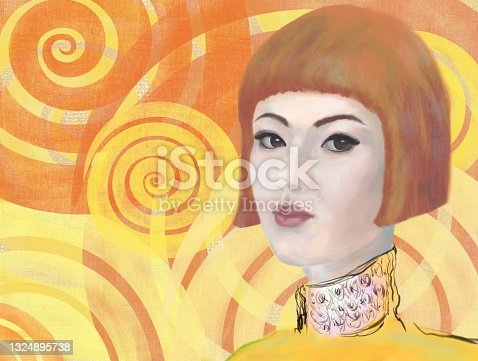 istock Painterly portrait of an asian girl in impressionism style 1324895738