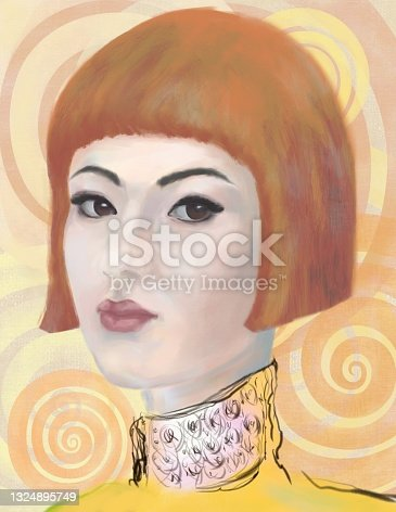 istock Painterly portrait of an asian girl in impressionism style 1324895749