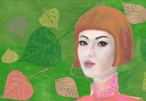 Painterly portrait of an asian girl in impressionism style