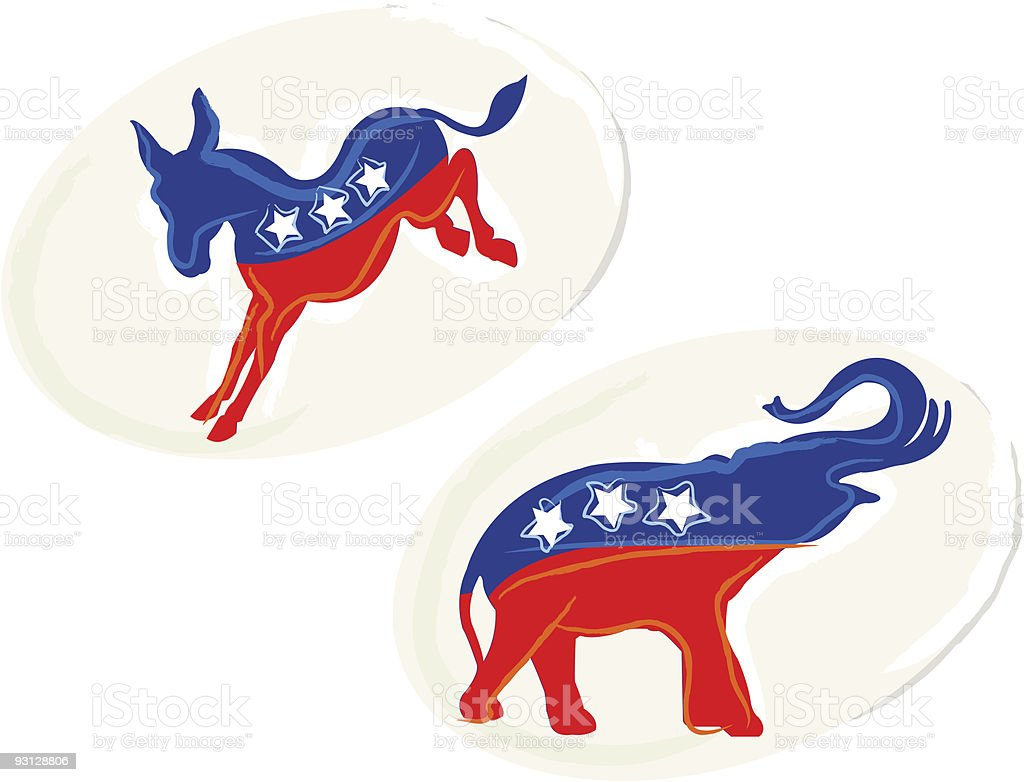 Painterly Republican and Democratic Stickers vector art illustration