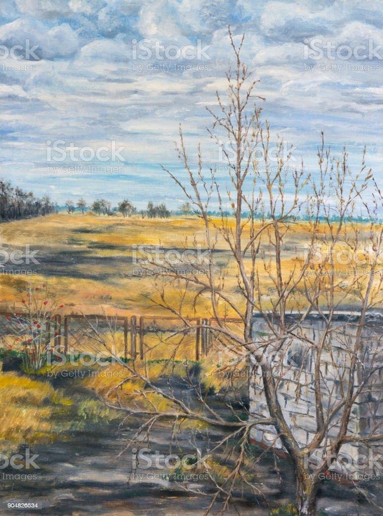 Painting. Autumn rural landscape. vector art illustration