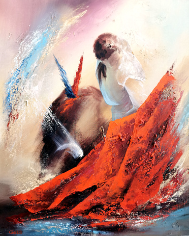 Painting Expressionism abstract illustration matador in bullfighting with rag is fighting with bull.