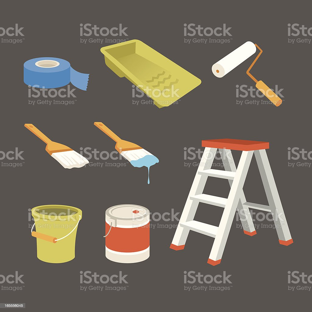 painting icons vector art illustration