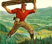 A painting if Paul Bunyan carrying a log above his head